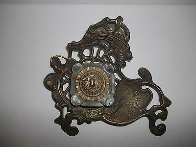 ANTIQUE VINTAGE ORNATE VICTORIAN  BRASS INKWELL with GLASS WELL INSERT & COVER