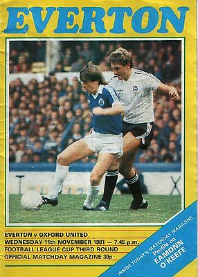 EVERTON v OXFORD UNITED    League Cup    11.11.1981