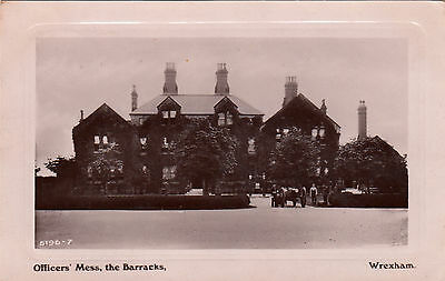"""1909 Rp Postcard Wrexham North Wales """" Officer's Mess The Barracks """" Postcard"""