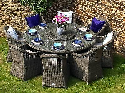 Grey Rattan Garden Furniture Round Patio Table and 8 Carver Chairs Dining Set