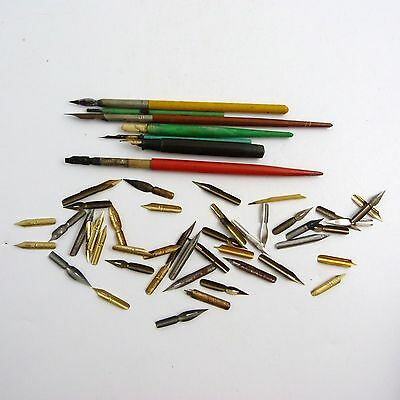 Collection Of Seven Antique Dip Pens With 45 Nibs