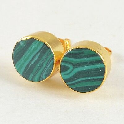 10mm Round Manmade Malachite Jasper Stud Earrings Gold Plated T025079