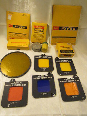 Vintage Kodak Lot, Slides, Film, Velox Paper, Filters, Cans, Developer, Expired