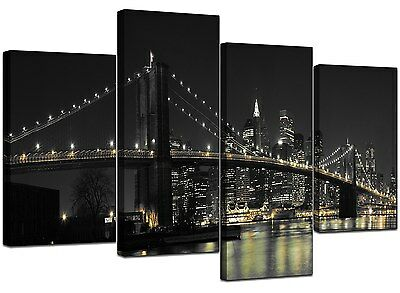 Large New York Canvas Black White Wall Art Pictures Set Prints XL 4075