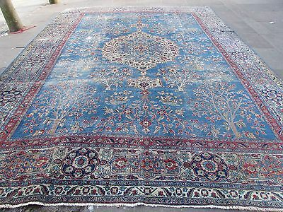 Antique Shabby Chic Traditional Persian Rug Wool Blue Hand Made Carpet 443x335cm