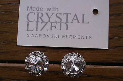 Genuine Swarovski Elements 13mm Clear Crystal Stud Earrings + Gift Bag