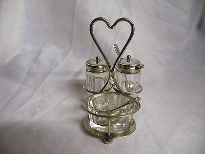 Antique/vintage Silver Plated And Glass Cruet Set