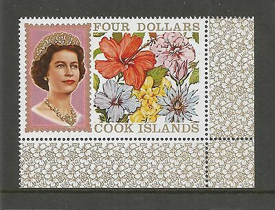Cook Islands 1967 Queen Elizabeth Ii And Flowers $4 Mint Sg 246A Ref 475