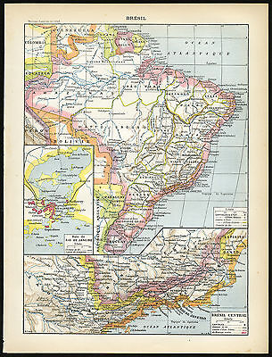 Antique Map-Print-BRASIL-COSTUME-ANIMALS-ORCHIDS-CACAO-Larousse-1897