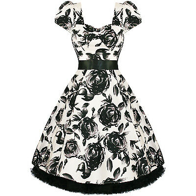 New Ladies White Floral Retro Vintage 50s Style Swing Party Prom Dress UK
