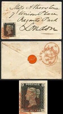 Penny Black (GB) Plate 3 SUPERB 4 MARGIN Tiny Envelope Contrary to Regulations