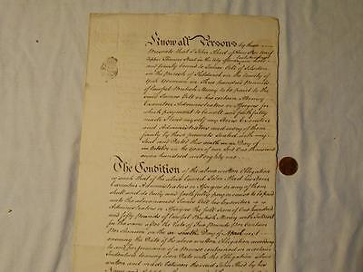 Antique 1781 JOHN AKED London - JAMES GILL Silsden Mortgage Bond Manuscript #A43