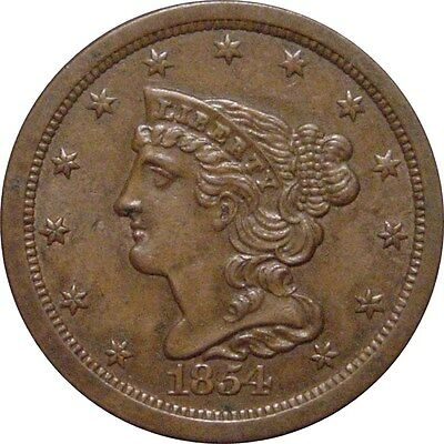 1854 Braided Half Cent--Solid Untouched Brown Unc