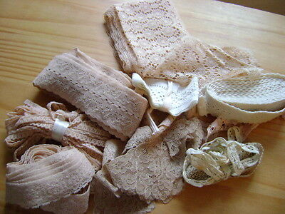 LOT OF VINTAGE LACE EDGING, TRIMMING, CREAM, BEIGE,  IDEAL CRAFT PROJECT (lot 2)