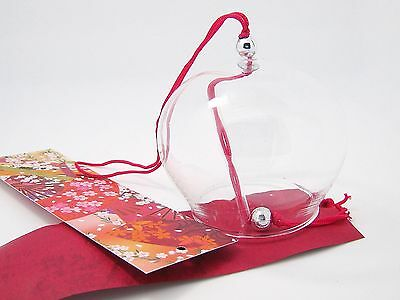 """Japanese Glass Wind Bell Chime Tradition Furin WATER CLEAR DIY PAINTINGS 2.7"""""""