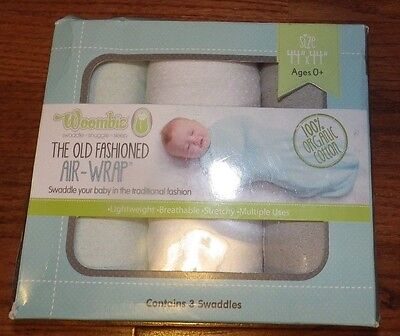 3 Count Woombie Old Fashioned Air-Wrap Versatile Baby Blankets Stretchy SWADDLE