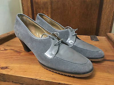 Rare Vintage Womens Glovemocs By Church Grey Suede Lyndsey Shoes Uk 6 Heels