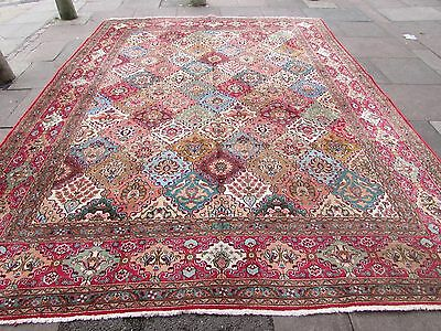 Old Hand Made Traditional Persian Oriental Wool Red Blue Large Carpet 392x303cm