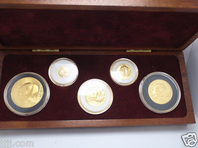 1987 S China 5 Coin Uncirculated Panda Gold Set 1.90 Troy Ounces .999 Gold