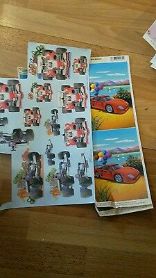3 sheets decoupage cars