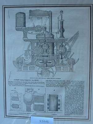 93845-Patent Bread Making Machine Brot Bäcker-T Holzstich-Wood engraving