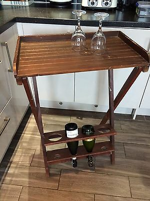 Folding Wooden Table With Wine Bottle Storage