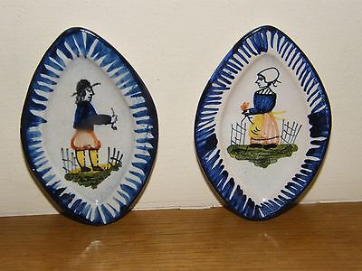 Vintage Miniature Hand Painted Quimper Breton Man and Lady Oval Dishes