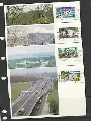 GB FDC, 1968 Bridges, 4 cameo cards, Bridge Canterbury Envelope FDI, Fine