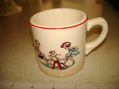 Vintage 1950's Ceramic BABY CUP Compliments Of TILGHMAN FURNITURE WELDON NC