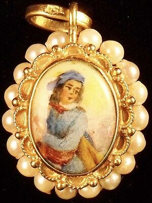 18K Gold Two-Sided Painted Enamel Pendant w/ Strung Pearls -- Free Shipping