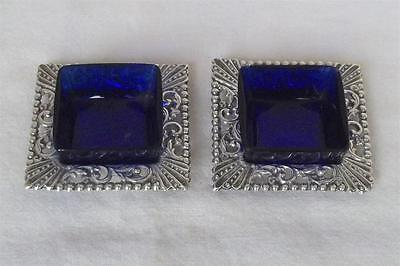 An Antique Pair Of Solid Sterling Silver Edwardian Square Salts Chester 1902.