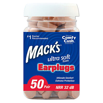 Mack's Ultra Ear Plugs (50-pair Jar) Molded with super low-pressure tapered Foam