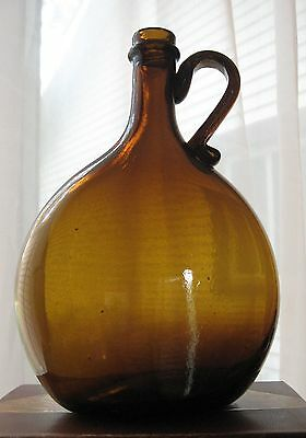 CIRCA 1830-1860's BLOWN AMBER GLASS CHESTNUT WHISKEY BOTTLE FLASK APPLIED HANDLE