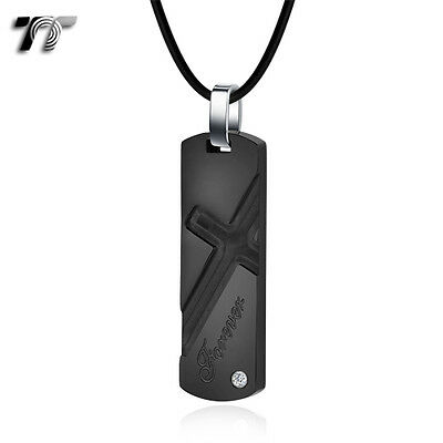 Quality TT Black Stainless Steel Cross Dog Tag Pendant Necklace (NP315D) NEW