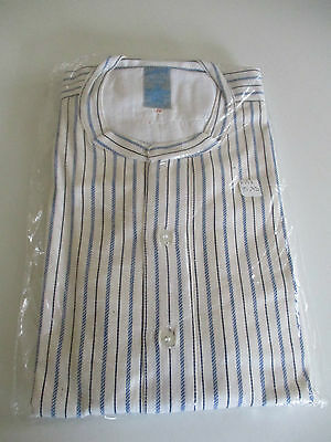 Vintage Men,s Scottcraft Blue Striped Cotton Grandad Shirt 18 Collar Unused