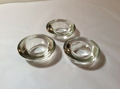 Set Of Three Chunky Tea light Candle Holders - Clear Glass - Round