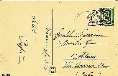 """AUSTRIA """"WIPA 1933"""" cancel on card to Italy. Signed"""