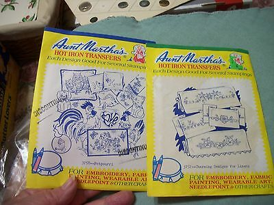 2 Env. Vintage Aunt Martha's Hot Iron Transfer  Embroidery  Patterns Unopened #2