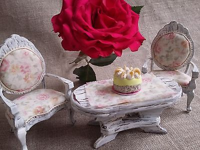 Dolls House Shabby-Chic Table and Chairs: Tea Party / Garden / 12th scale OOAK