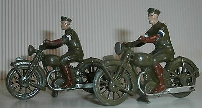 2 VINTAGE   German  MOTORCYCLES    WITH RIDERS      CAST LEAD