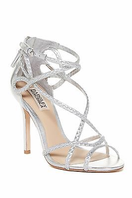 Badgley Mischka Crystal Silver Leather Heels Sandals Shoes 8.5 NEW NIB $225