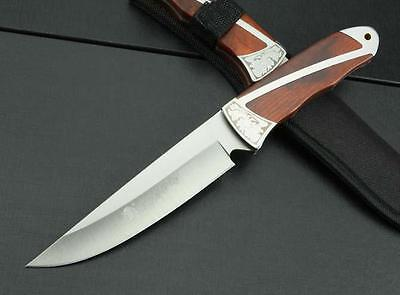 "10.2"" Full Tang Rose Wood Handle Outdoor Camping Hunting Knife FIXED Blade"