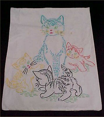 Vintage Antique Embroidered Sampler 1940s Picture Kitty Cats Flowers to Frame