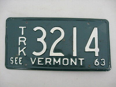 1963 Vermont License Plate,number Trk. 3214,white On Green, See Vermont