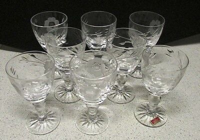 8 x ROYAL ALBERT CRYSTAL CUT OLD COUNTRY ROSES SHERRY GLASSES