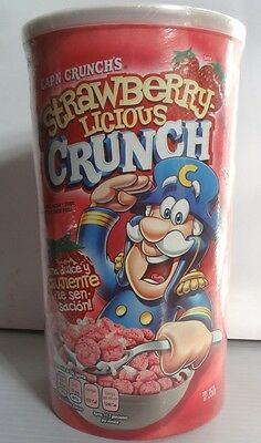 Cap'n Crunch Strawberry Licious Crunch Cereal Carton box RARE full SEALED Yum!