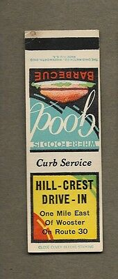 Hill Crest Drive In Wooster Ohio Flat Matchcover A467