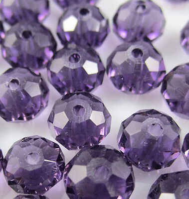 Jewelry Faceted 50pcs Rondelle glass crystal 5040 4x6mm Beads Violet color F8W30