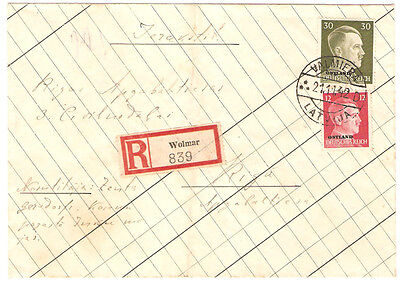 GERMANY LATVIA Occupation WWII reg. cover 1942 Wolmar Valmiera handmade envelope
