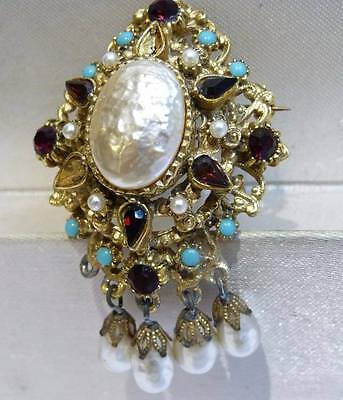 ANTIQUE ART DECO STYLE 1940s -1950s WATERFALL BROOCH GLASS STONES BROOCH A/F,